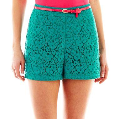 Bisou Bisou Belted Lace Shorts