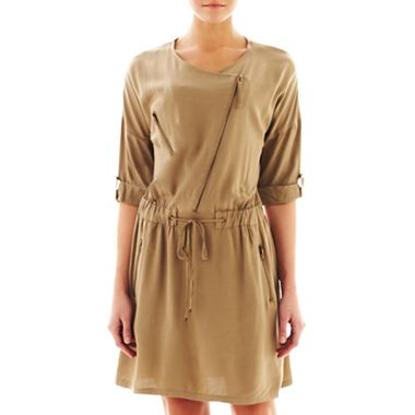 MNG by Mango Zip Front Drawstring Dress