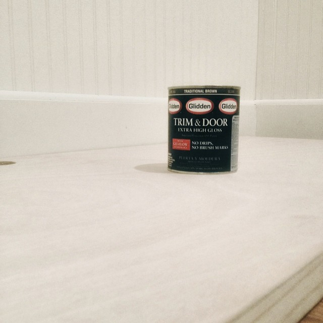 a hollow door + @glidden_paints Trim and Door extra high gloss paint. Floating desk coming up #DIY #HomeworkSpace