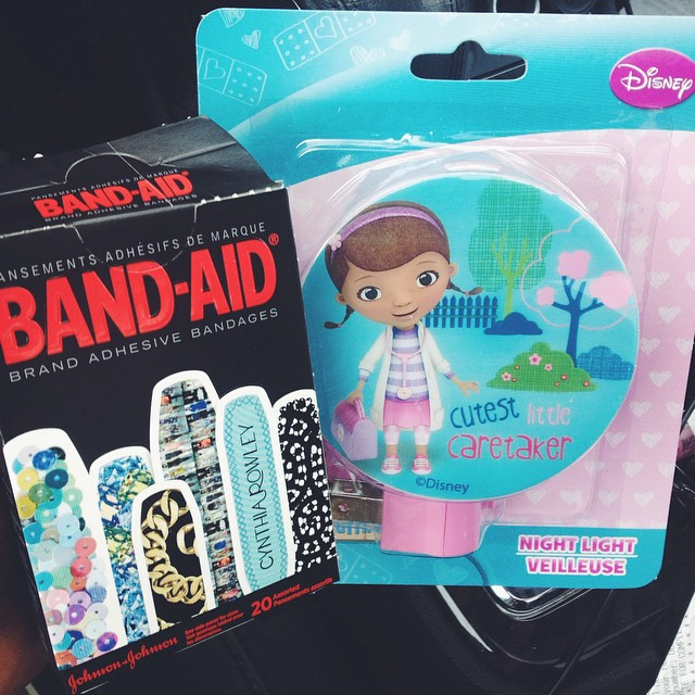 Designer band-aids and a Doc nightlight. Dollar tree has been good to me again today #DollarTree