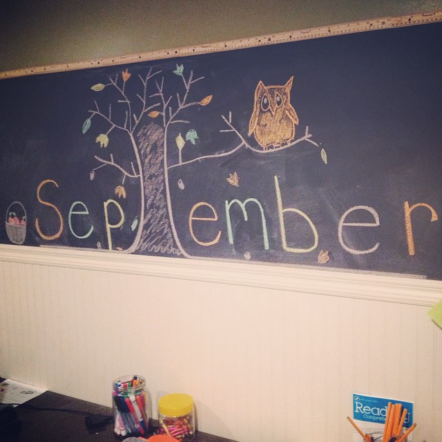 September's board. Don't laugh at my owl. #DoItForTheKids #HomeworkStation #Playroom #ChalkboardWall