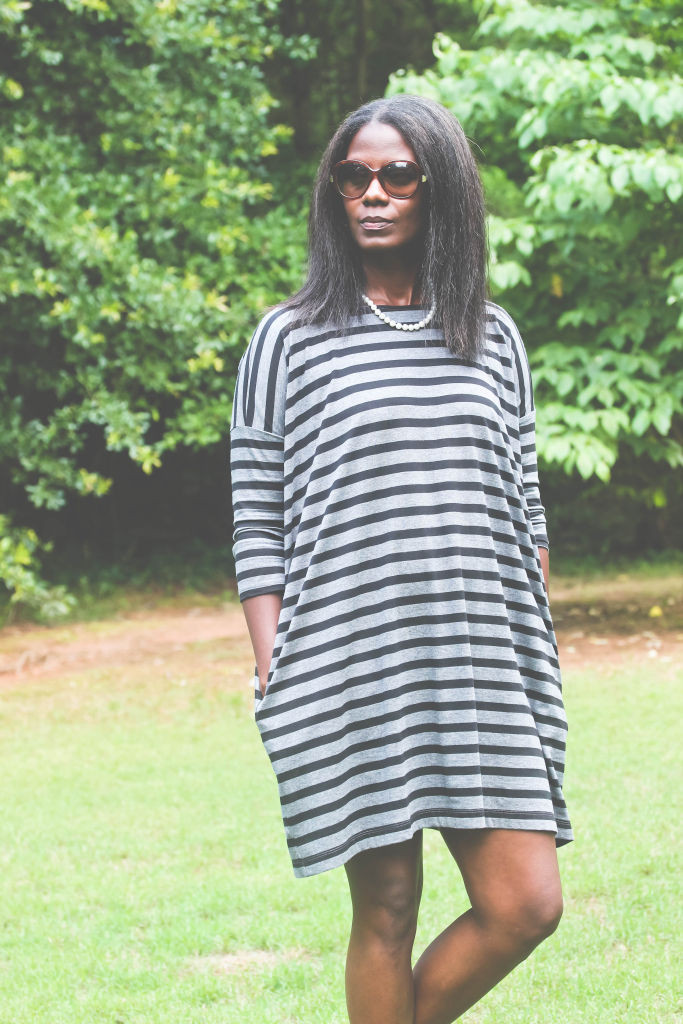 Gap Striped Relaxed T shirt Dress